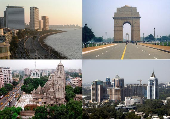 Metro cities in India- New Delhi, Mumbai, Chennai, Kolkata and Bangalore